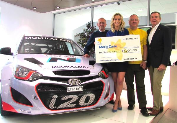 From left to right: Alan Tyndall, Director of Deja vu Motorsport, Shona Mulholland of John Mulholland Motors and on far right Richard Finlay presenting a ...